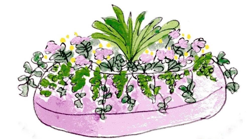 container flower garden by Valerie Ferrier