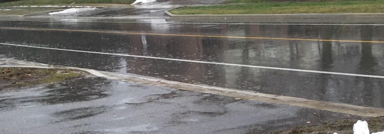 rain covered street