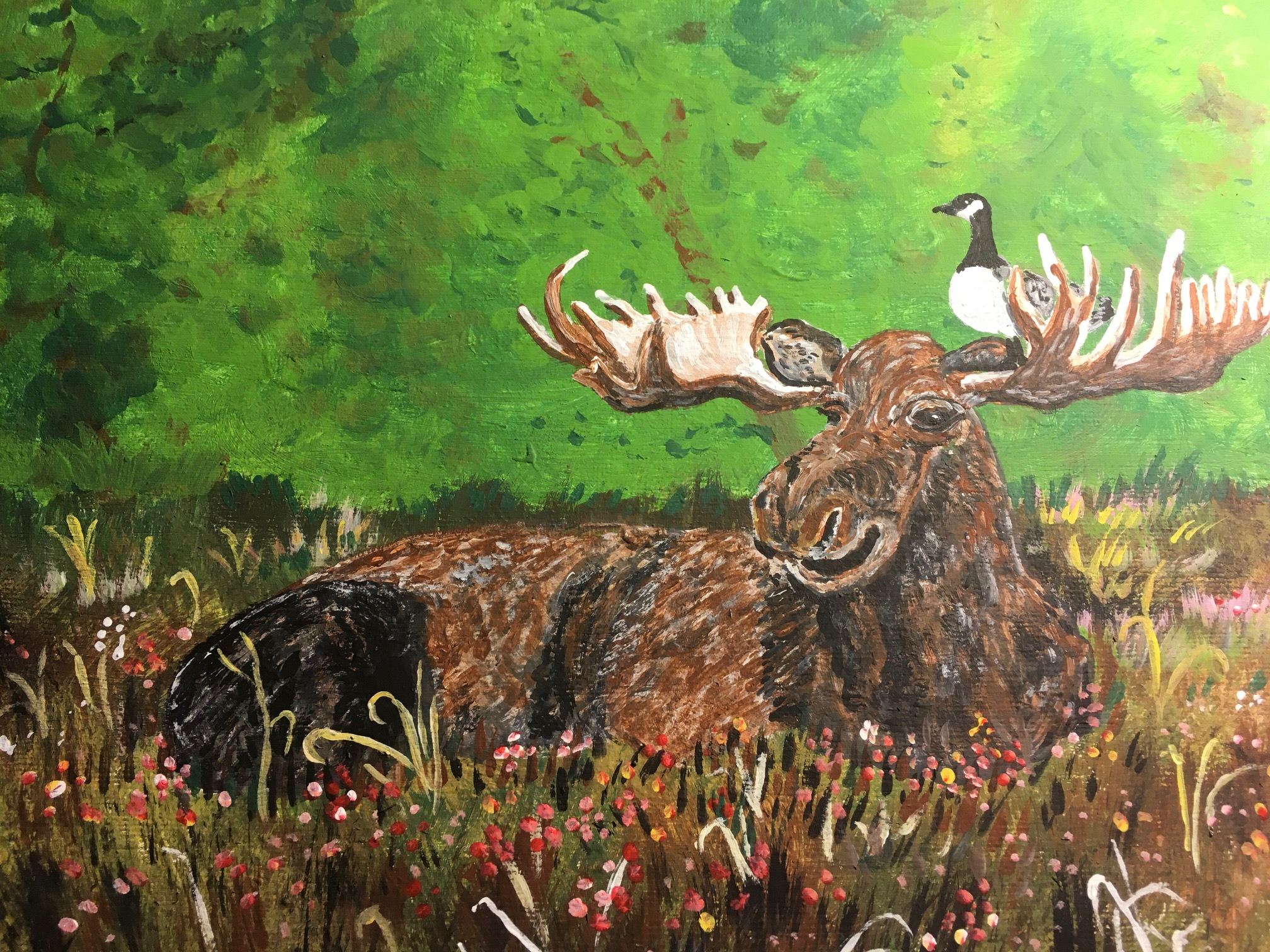 goose on a moose painting